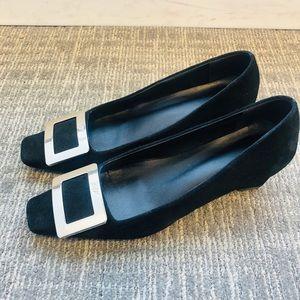 Black suede buckle square toe pump RV BDN flats